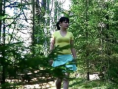 4 movies - Horny voyeur spies after brunette peeing in park