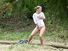 4 movies - Slim teenage nudist chick caught peeing in bush
